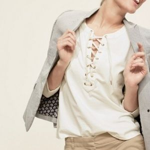 J. Crew Lace Tie Up Top in White NWT